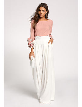 Blush Ruched Puff Sleeve Blouse by Love Culture