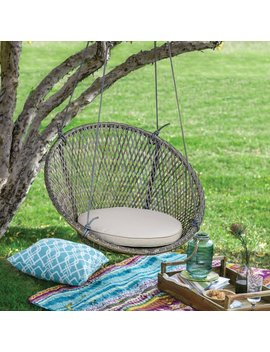 Belham Living Saria Resin Wicker Single Hanging Swing Chair With Seat Pad by Hayneedle