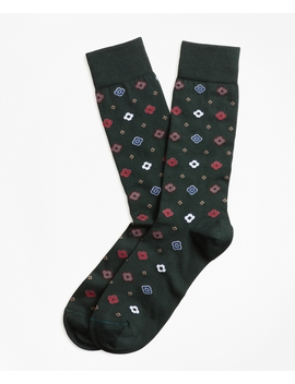 Geometric Print Crew Socks by Brooks Brothers