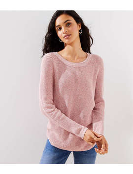 Petite Marled Bow Back Sweater by Loft