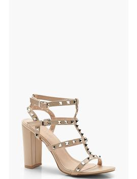Studded Strappy Block Heels by Boohoo