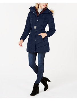 Petite Faux Fur Hooded Contrast Bib Belted Puffer Coat by Tommy Hilfiger