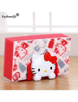 Keythemelife Cartoon Hello Kitty/Melody Soap Sponge Suction Drying Holder Home Kitchen Bathroom Storage Rack 3 D by Keythemelife