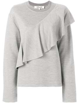 Dvf Diane Von Furstenbergasymmetric Ruffle Trim Sweatshirthome Women Dvf Diane Von Furstenberg Clothing Sweaters by Dvf Diane Von Furstenberg