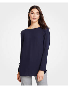 Mixed Media Tab Sleeve Top by Ann Taylor