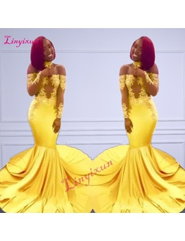 New Elegant Yellow Off The Shoulder Lace Prom Dresses 2018 Formal Long Sleeves Mermaid Appliques Satin Arabic Evening Gowns by Linyixun
