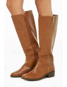 Faux Leather Knee High Zipper Boots by Forever 21