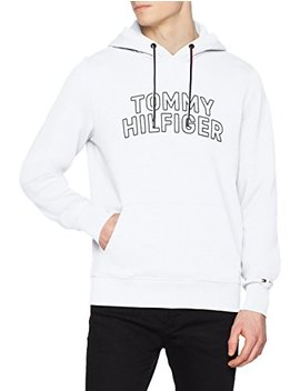 Tommy Hilfiger Men's Chest Logo Hoodie, White by Tommy+Hilfiger