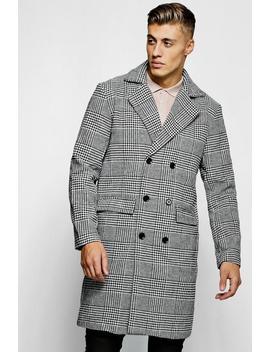 Prince Of Wales Check Wool Look Overcoat by Boohoo Man
