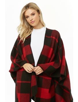 Brushed Plaid Poncho by Forever 21