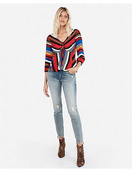 Petite Striped Volume Sleeve Top by Express