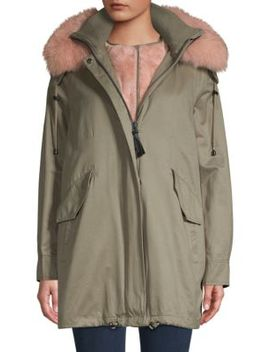 Fox Fur Trim & Faux Fur Lined Parka by Derek Lam 10 Crosby