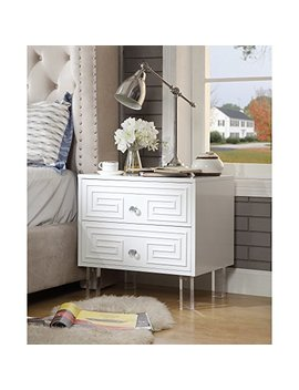 Inspired Home Aristotle White Glossy Nightstand   Lacquer Finish | Side Table | Acrylic Lucite Legs by Inspired Home