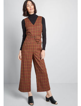 Going Places Plaid Jumpsuit by Modcloth