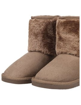 Kids Girls Snow Boots Sherpa Lined Faux Suede Velcro Winter Boots Camel 12 by Simplicity