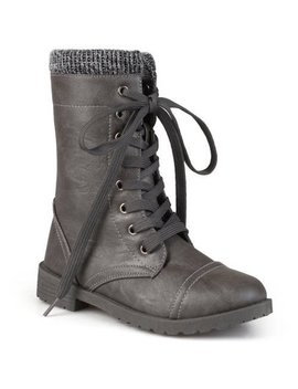 Brinley Kids' Toddler Little Kids Lace Up Ribbed Combat Boots by Brinley Co.