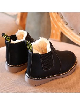 Dzt1968 Kids Boys Girls Winter Snow Warm Ankle Boots Zipper Child Chelsea Shoes by Dzt1968