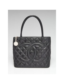 Black Quilted Caviar Leather Medallion Tote Bag by Chanel