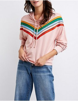 Chevron Hooded Pullover Sweater by Charlotte Russe