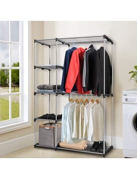 Deluxe Double Rod Closet Wardrobe Metal Free Standing Sturdy Garment Rack Clothes Storage Organizer Black by Try