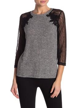 3/4 Lace Raglan Sleeve Sweater by Hazel