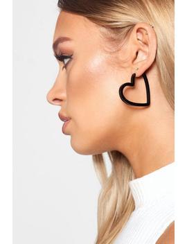 Black Resin Heart Hoop Earrings by Boohoo