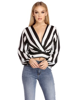Swish In Stripes Surplice Top by Windsor