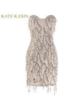 Kate Kasin Knee Length Prom Dress  2018 Gold Sequins Short Formal Dress Sexy Sweetheart Special Occasion Dresses Prom Gowns 1041 by Kate Kasin