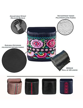 Quality Stuff Leak Proof Car Trash Can – Premium Compact 7x7x4 Inches Litter Bin Portable And Collapsible Universal Auto Garbage Can, Fashionable Designs, Waterproof Free Liners by Quality Stuff