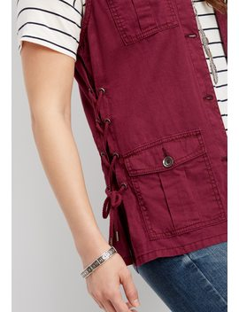 Lace Up Linen Vest by Maurices