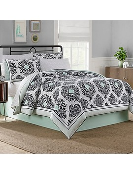 Cooper Reversible Comforter Set In Black/White/Mint by Bed Bath And Beyond