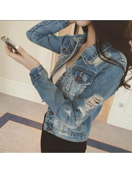 Casusal Collar Slim Fit Distressed Denim Short Jackets Jean Coat Womens Outwears by Ebay Seller