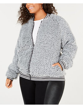 Trendy Plus Size Fleece Bomber Jacket by Say What?