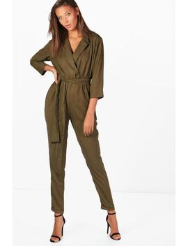 Tall Collar Wrap Jumpsuit by Boohoo