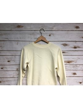 Vintage 70's  Women's Light Yellow Raglan Crewneck Sweatshirt Yellow Crew Neck Sweatshirt Raglan Sweatshirt That 70's Show Style   Small by Etsy
