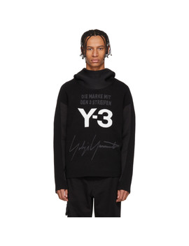Black & White Stacked Logo Hoodie by Y 3