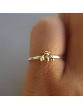 Simple Tiny Sterling Silver Bee Ring, Silver And Gold Brass Stacking Ring, Hammered Band Ring, Gift For Women by Etsy
