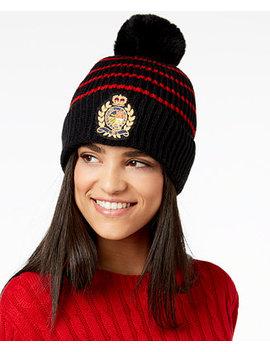 Logo Patch Ribbed Knit Hat by Lauren Ralph Lauren