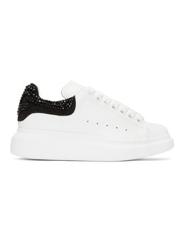 White & Black Crystal Oversized Sneakers by Alexander Mcqueen