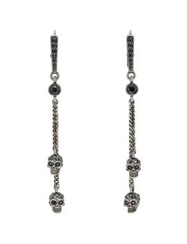 Silver Chain Skull Earrings by Alexander Mcqueen