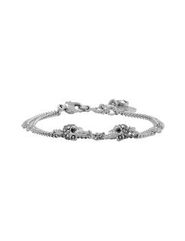 Silver Chain Multi Skull & Stone Bracelet by Alexander Mcqueen