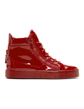 Red Patent May London High Top Sneakers by Giuseppe Zanotti