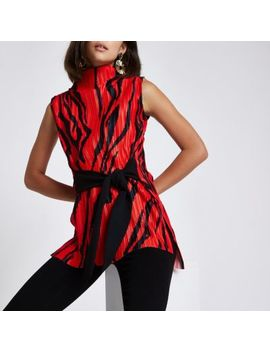 Red Zebra Print Plisse Belted Top by River Island