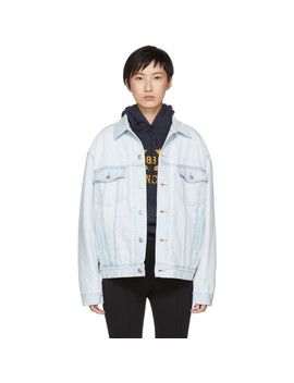 Blue Denim Embossed Logo Jacket by Balenciaga