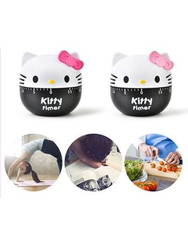 Cartoon Hello Kitty Plastic Timer Kitchen 60 Minute Cooking Mechanical Home Kitchen Decoration D1 by Keythemelife