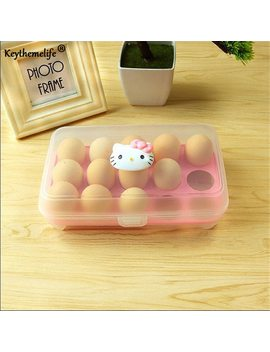 Keythemelife Cartoon 15 Grid Eggs Storage Box Plastic Container Hello Kitty Kitchen Refrigerator Egg Covered Storage Holder A by Keythemelife