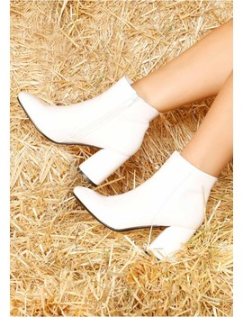 Rowena White Patent Block Heeled Boots by Missy Empire