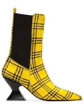 Marques'almeidachecked Print Ponyhair 75 Bootshome Women Marques'almeida Shoes Boots by Marques'almeida