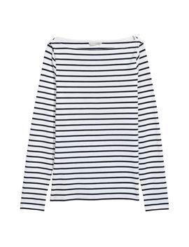 Top Z Bawełny Pima W łódeczkę by H&M