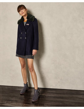 Removable Faux Fur Collar Wool Pea Coat by Ted Baker